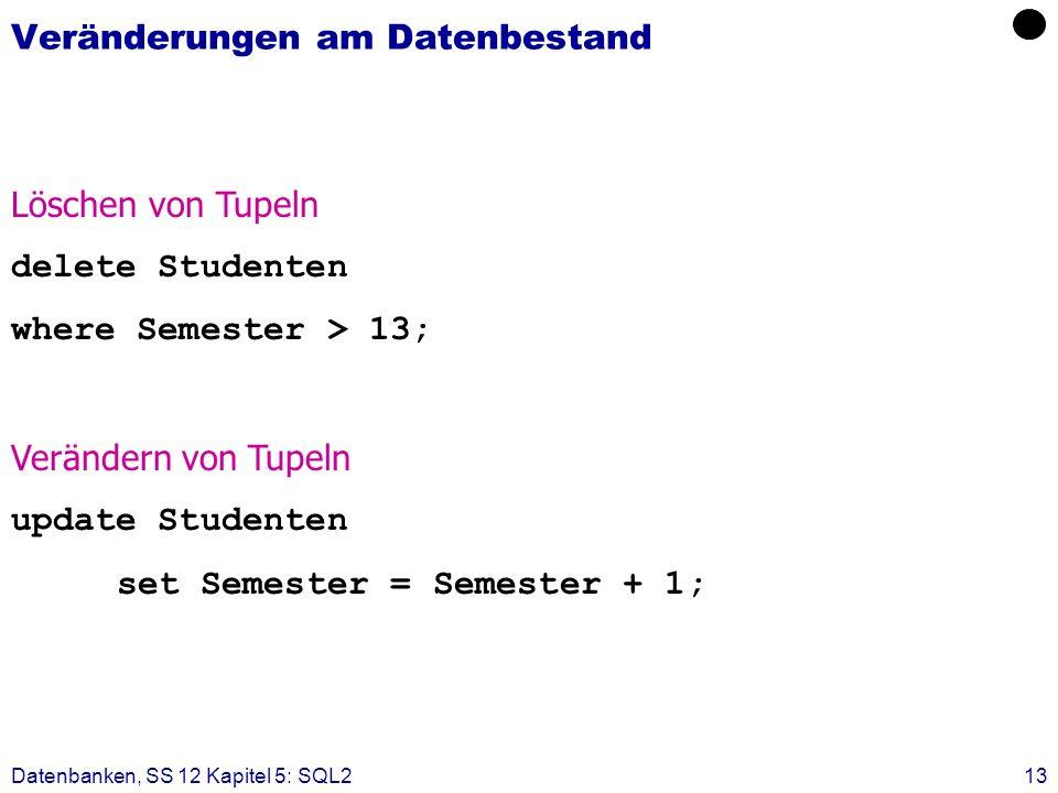 Datenbanken, SS 12 Kapitel 5: SQL213 Veränderungen am Datenbestand Löschen von Tupeln delete Studenten where Semester > 13; Verändern von Tupeln updat
