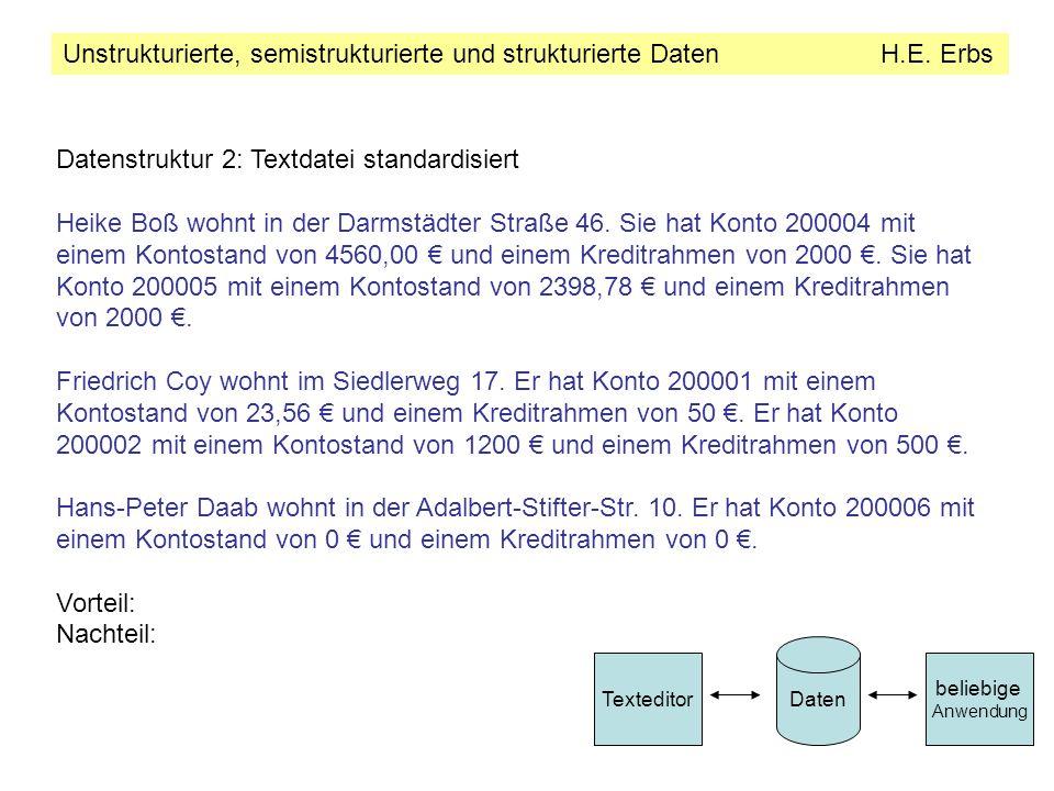 Unstrukturierte, semistrukturierte und strukturierte Daten H.E.