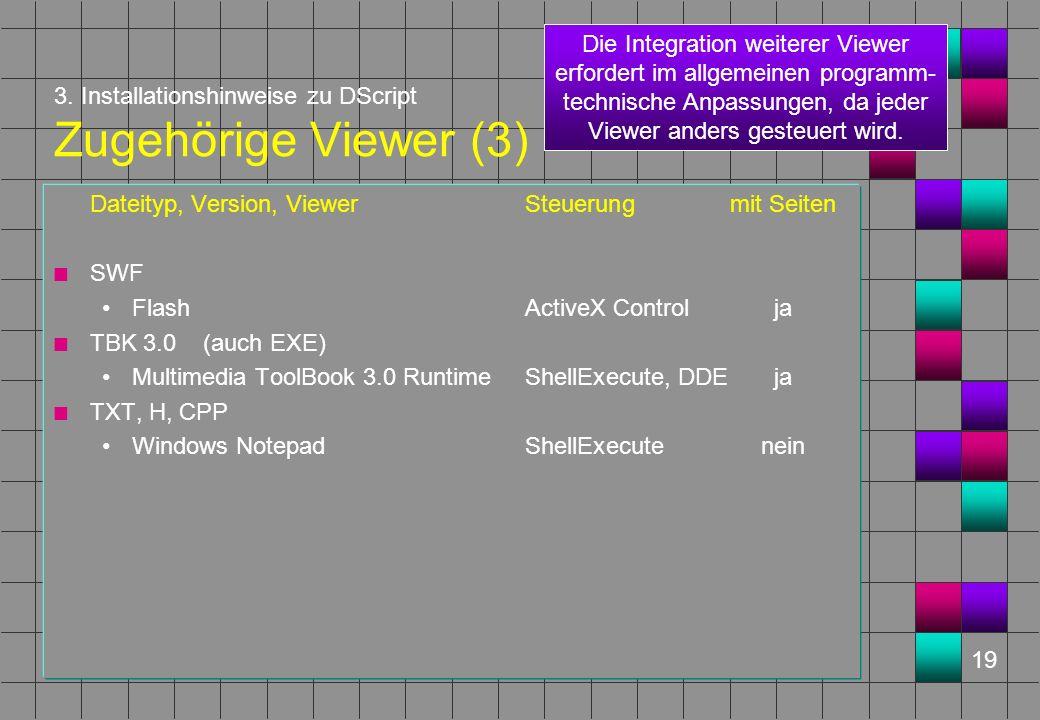 19 3. Installationshinweise zu DScript Zugehörige Viewer (3) Dateityp, Version, ViewerSteuerungmit Seiten n SWF FlashActiveX Controlja n TBK 3.0 (auch