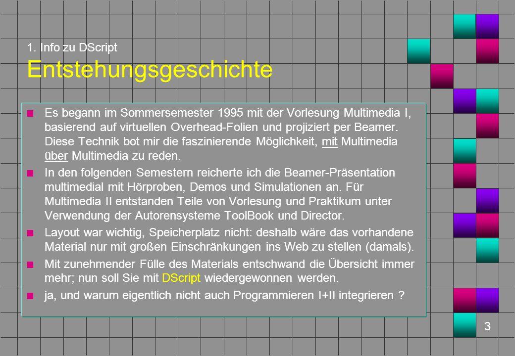 3 1. Info zu DScript Entstehungsgeschichte n Es begann im Sommersemester 1995 mit der Vorlesung Multimedia I, basierend auf virtuellen Overhead-Folien
