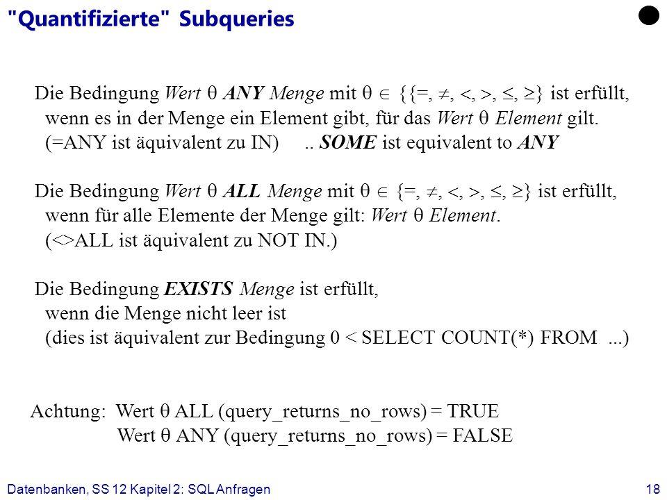 Datenbanken, SS 12 Kapitel 2: SQL Anfragen18 Quantifizierte Subqueries Die Bedingung Wert ANY Menge mit {{=,,,,, } ist erfüllt, wenn es in der Menge ein Element gibt, für das Wert Element gilt.