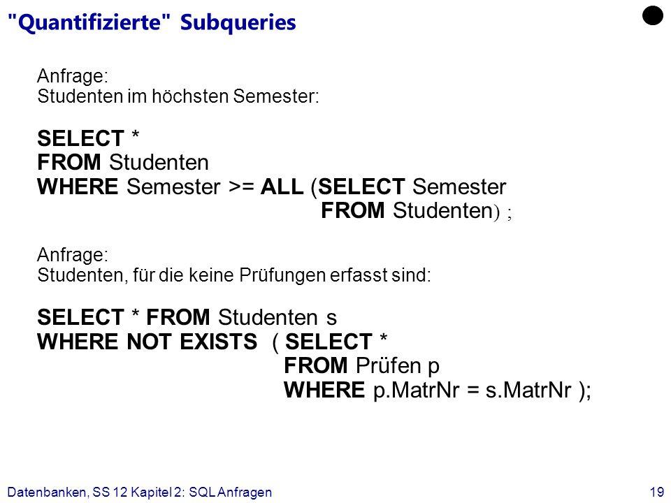 Datenbanken, SS 12 Kapitel 2: SQL Anfragen19 Quantifizierte Subqueries Anfrage: Studenten im höchsten Semester: SELECT * FROM Studenten WHERE Semester >= ALL (SELECT Semester FROM Studenten ) ; Anfrage: Studenten, für die keine Prüfungen erfasst sind: SELECT * FROM Studenten s WHERE NOT EXISTS ( SELECT * FROM Prüfen p WHERE p.MatrNr = s.MatrNr );