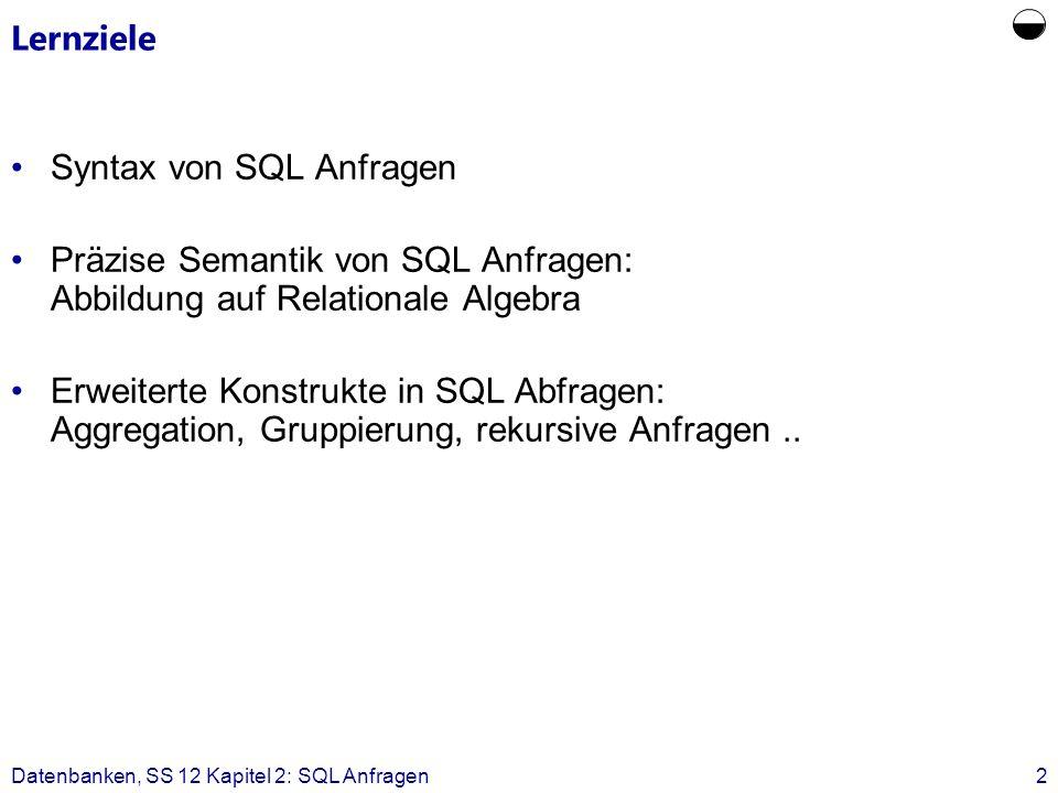 Datenbanken, SS 12 Kapitel 2: SQL Anfragen2 Lernziele Syntax von SQL Anfragen Präzise Semantik von SQL Anfragen: Abbildung auf Relationale Algebra Erweiterte Konstrukte in SQL Abfragen: Aggregation, Gruppierung, rekursive Anfragen..