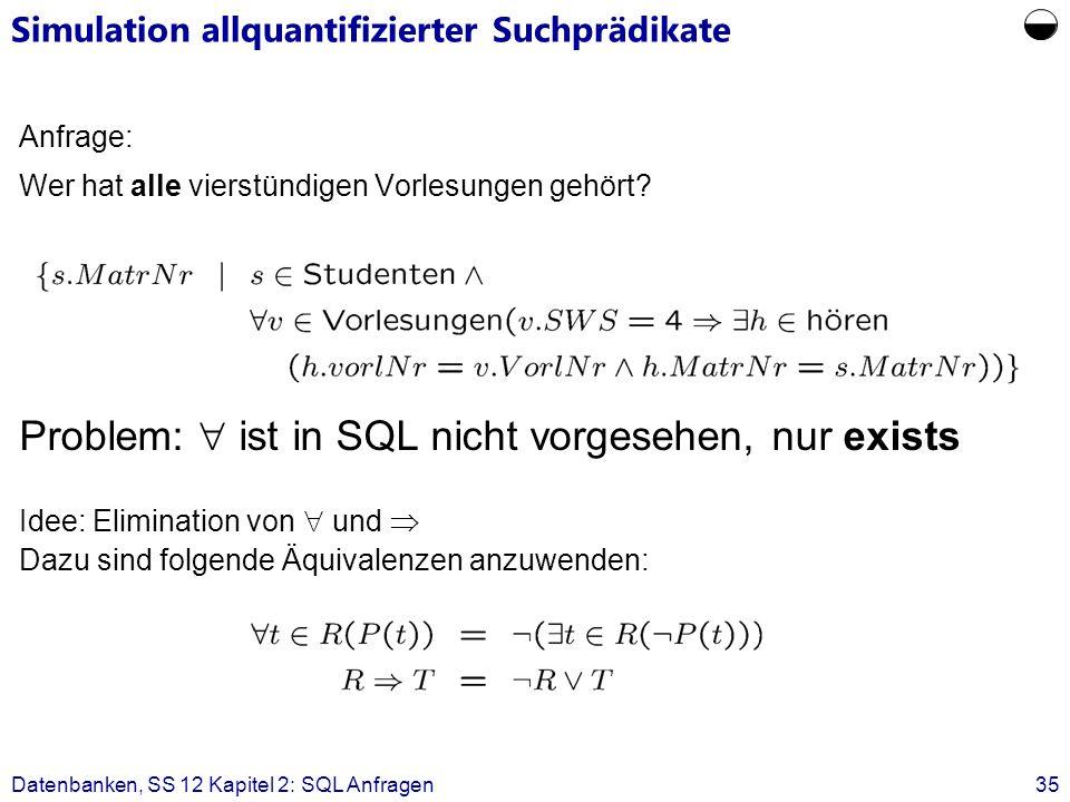 Datenbanken, SS 12 Kapitel 2: SQL Anfragen35 Anfrage: Wer hat alle vierstündigen Vorlesungen gehört.