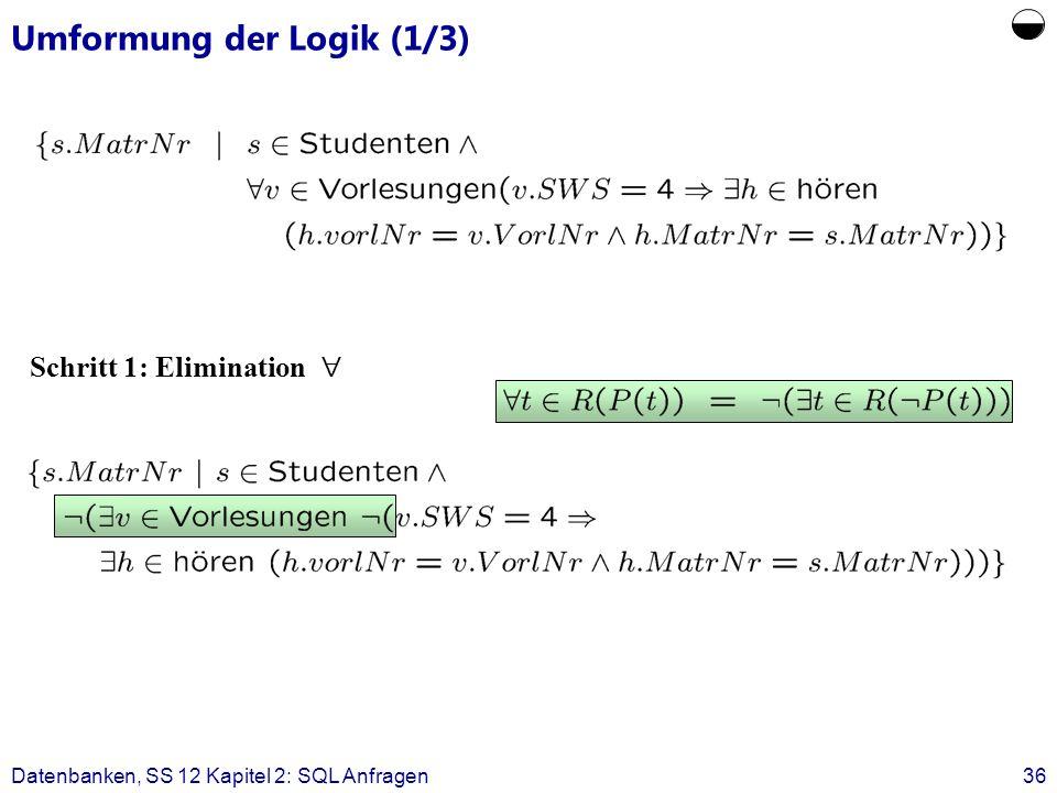 Datenbanken, SS 12 Kapitel 2: SQL Anfragen36 Umformung der Logik (1/3) Schritt 1: Elimination