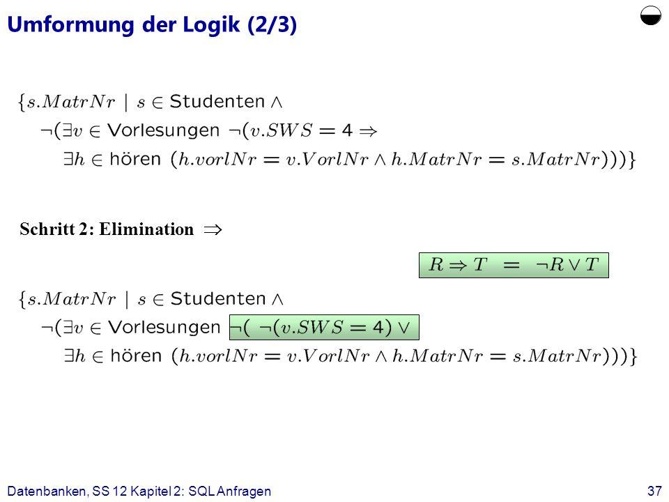 Datenbanken, SS 12 Kapitel 2: SQL Anfragen37 Umformung der Logik (2/3) Schritt 2: Elimination