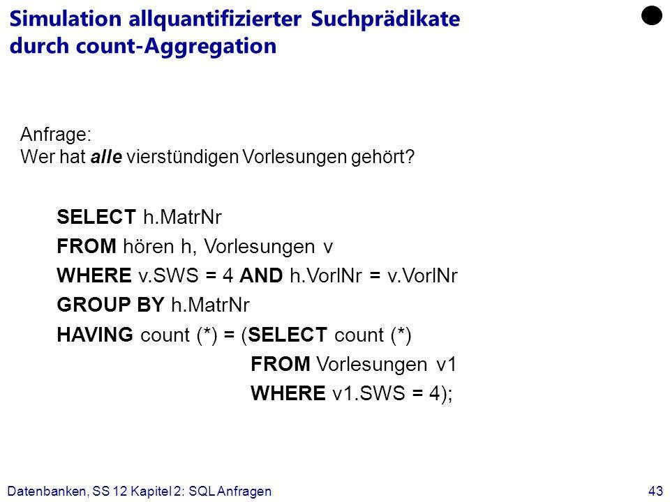 Datenbanken, SS 12 Kapitel 2: SQL Anfragen43 Simulation allquantifizierter Suchprädikate durch count-Aggregation SELECT h.MatrNr FROM hören h, Vorlesungen v WHERE v.SWS = 4 AND h.VorlNr = v.VorlNr GROUP BY h.MatrNr HAVING count (*) = (SELECT count (*) FROM Vorlesungen v1 WHERE v1.SWS = 4); Anfrage: Wer hat alle vierstündigen Vorlesungen gehört?