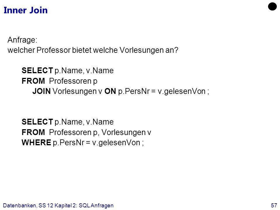 Datenbanken, SS 12 Kapitel 2: SQL Anfragen57 Inner Join Anfrage: welcher Professor bietet welche Vorlesungen an.