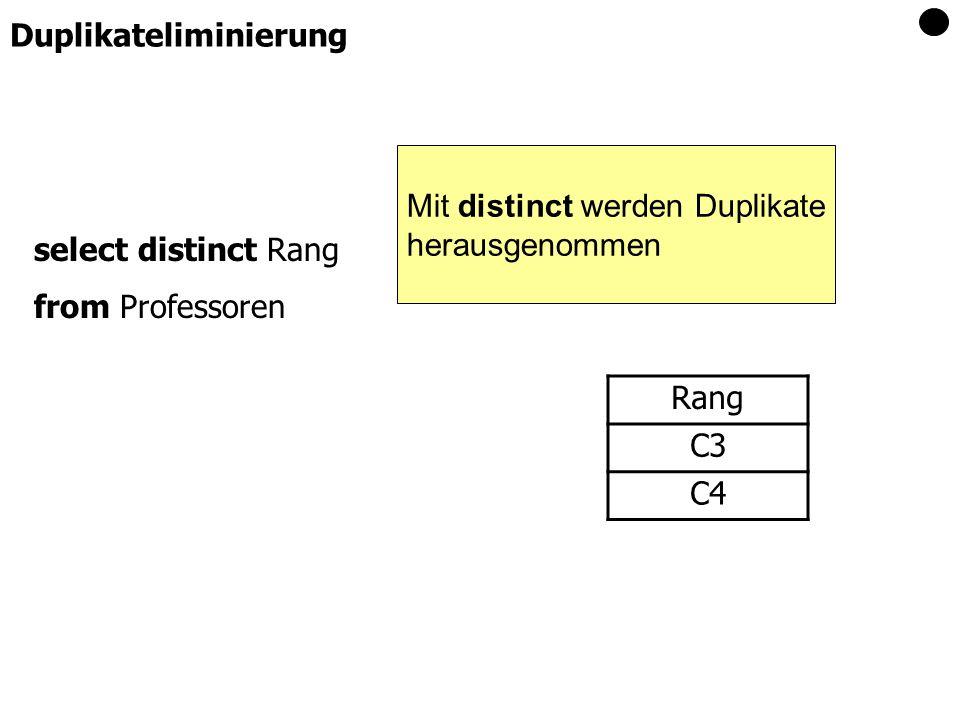 select distinct Rang from Professoren Rang C3 C4 Duplikateliminierung Mit distinct werden Duplikate herausgenommen