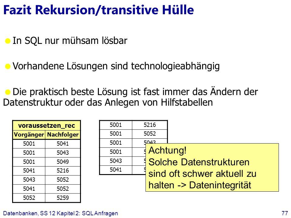 Datenbanken, SS 12 Kapitel 2: SQL Anfragen77 Fazit Rekursion/transitive Hülle In SQL nur mühsam lösbar Vorhandene Lösungen sind technologieabhängig Die praktisch beste Lösung ist fast immer das Ändern der Datenstruktur oder das Anlegen von Hilfstabellen voraussetzen_rec VorgängerNachfolger 50015041 50015043 50015049 50415216 50435052 50415052 5259 50015216 50015052 50015043 50015052 50435259 50415259 Achtung.