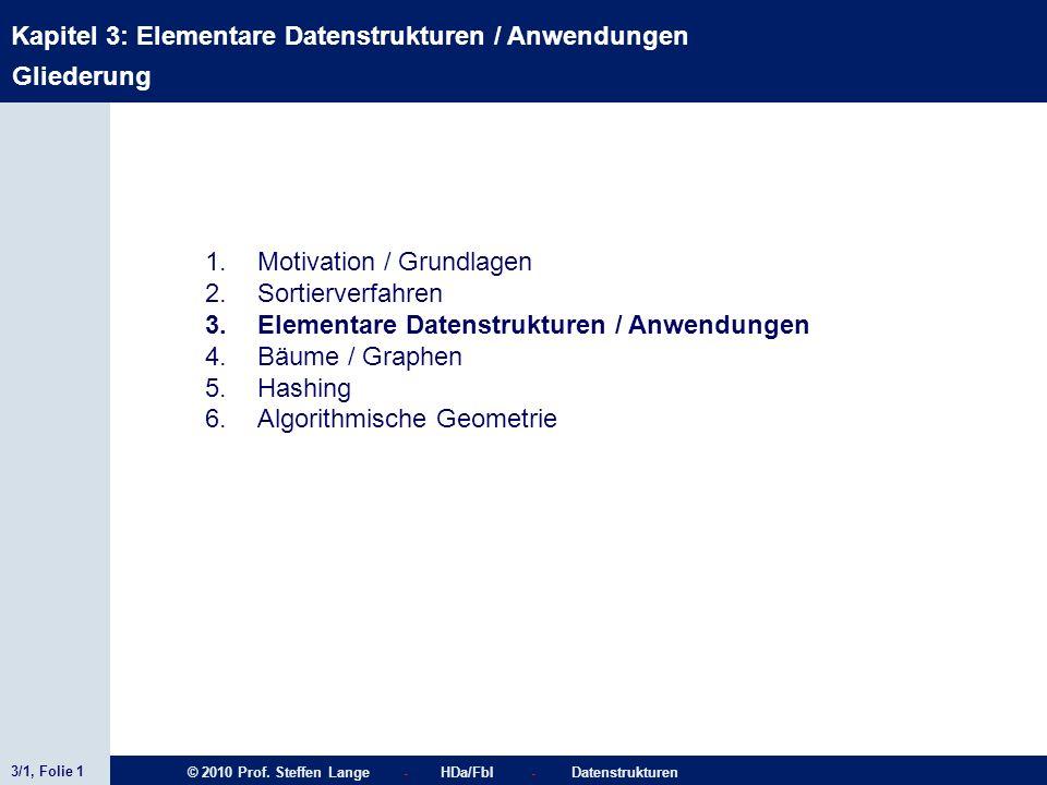 3/1, Folie 1 © 2010 Prof. Steffen Lange - HDa/FbI - Datenstrukturen Kapitel 3: Elementare Datenstrukturen / Anwendungen Gliederung 1.Motivation / Grun