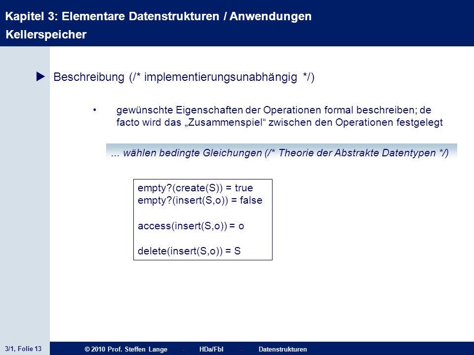 3/1, Folie 13 © 2010 Prof. Steffen Lange - HDa/FbI - Datenstrukturen Kapitel 3: Elementare Datenstrukturen / Anwendungen Kellerspeicher Beschreibung (