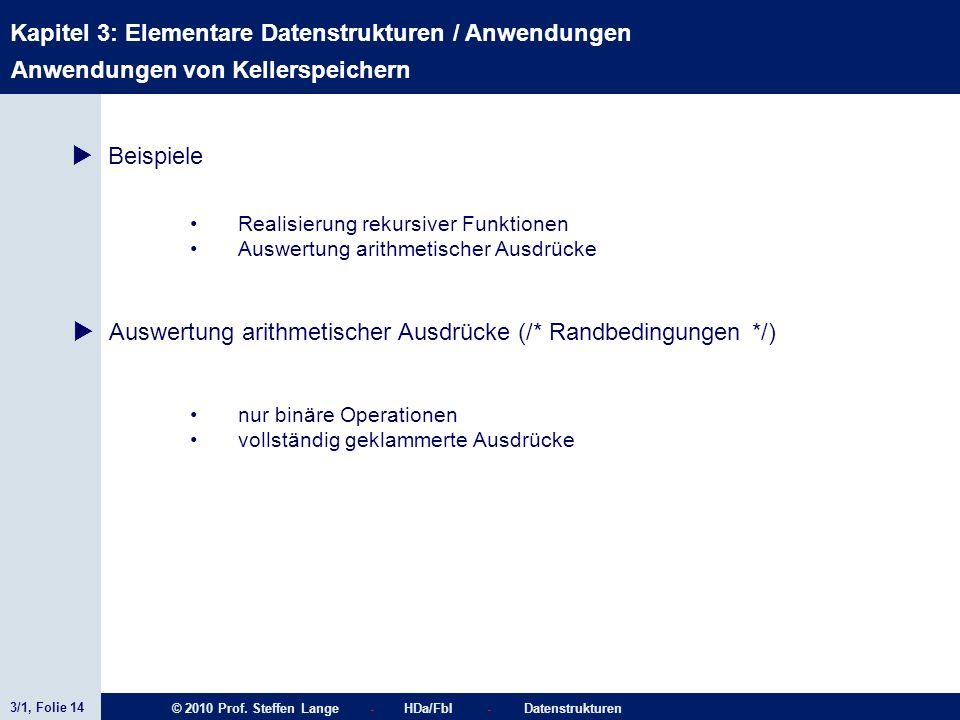 3/1, Folie 14 © 2010 Prof. Steffen Lange - HDa/FbI - Datenstrukturen Kapitel 3: Elementare Datenstrukturen / Anwendungen Stacks Realisierung rekursive