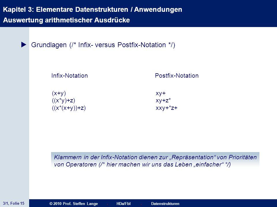 3/1, Folie 15 © 2010 Prof. Steffen Lange - HDa/FbI - Datenstrukturen Kapitel 3: Elementare Datenstrukturen / Anwendungen Stacks Infix-Notation (x+y) (