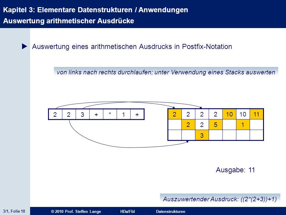 3/1, Folie 18 © 2010 Prof. Steffen Lange - HDa/FbI - Datenstrukturen Kapitel 3: Elementare Datenstrukturen / Anwendungen Stacks von links nach rechts