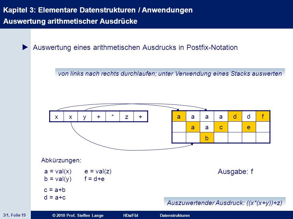 3/1, Folie 19 © 2010 Prof. Steffen Lange - HDa/FbI - Datenstrukturen Kapitel 3: Elementare Datenstrukturen / Anwendungen Stacks von links nach rechts