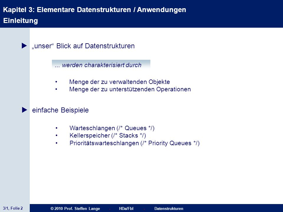 3/1, Folie 2 © 2010 Prof. Steffen Lange - HDa/FbI - Datenstrukturen Kapitel 3: Elementare Datenstrukturen / Anwendungen Einleitung unser Blick auf Dat