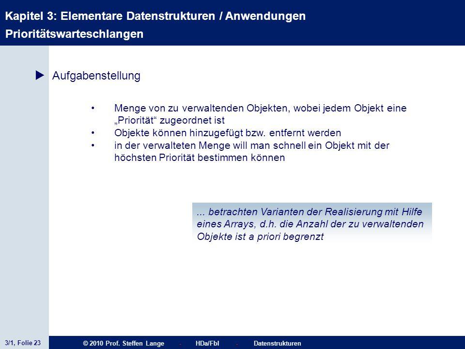 3/1, Folie 23 © 2010 Prof. Steffen Lange - HDa/FbI - Datenstrukturen Kapitel 3: Elementare Datenstrukturen / Anwendungen Stacks Prioritätswarteschlang