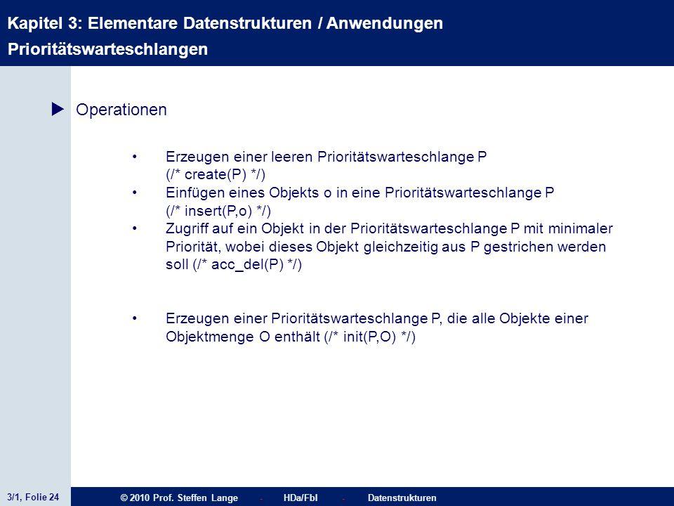 3/1, Folie 24 © 2010 Prof. Steffen Lange - HDa/FbI - Datenstrukturen Kapitel 3: Elementare Datenstrukturen / Anwendungen Stacks Prioritätswarteschlang