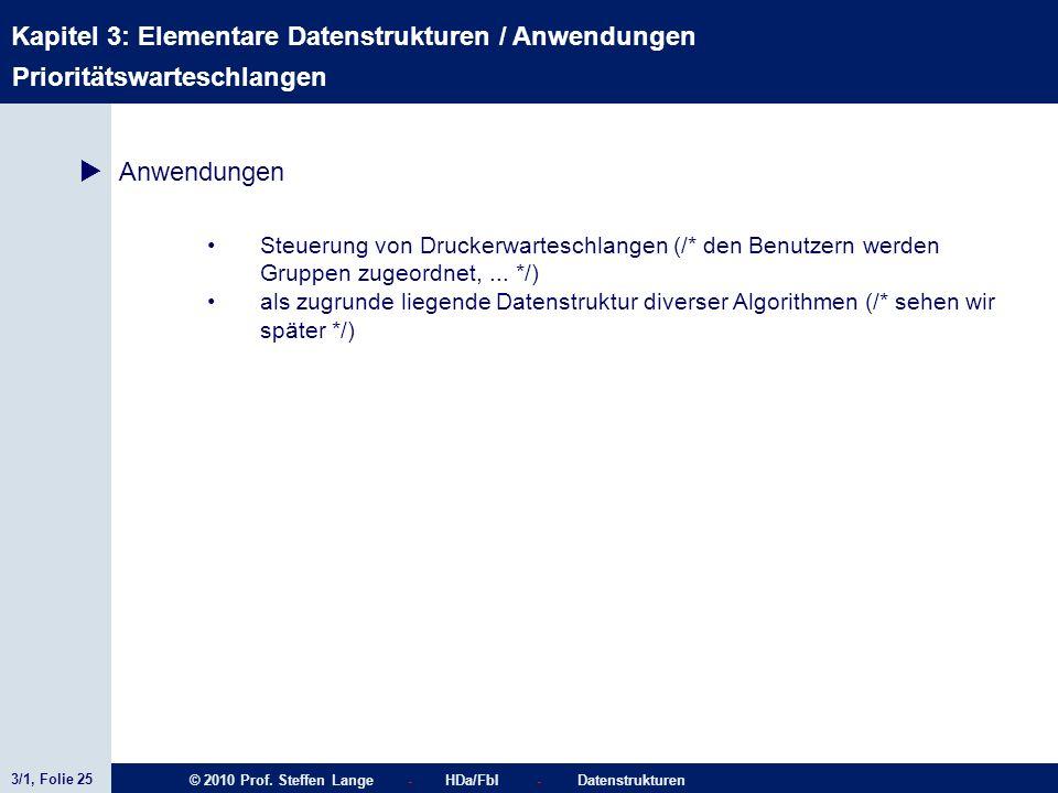 3/1, Folie 25 © 2010 Prof. Steffen Lange - HDa/FbI - Datenstrukturen Kapitel 3: Elementare Datenstrukturen / Anwendungen Stacks Prioritätswarteschlang