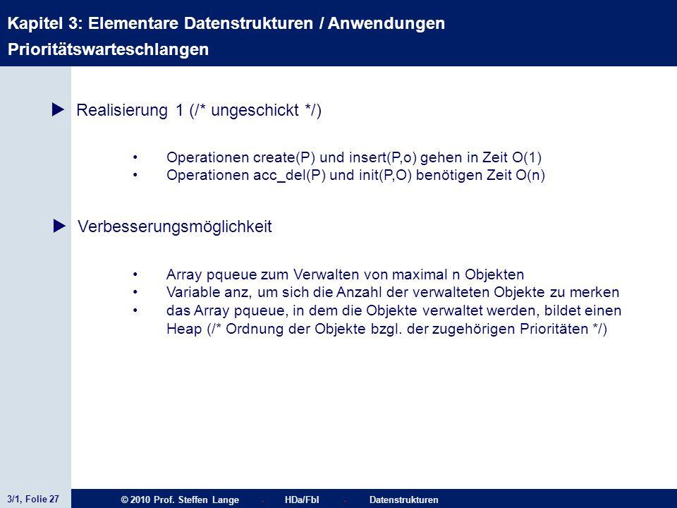 3/1, Folie 27 © 2010 Prof. Steffen Lange - HDa/FbI - Datenstrukturen Kapitel 3: Elementare Datenstrukturen / Anwendungen Stacks Prioritätswarteschlang