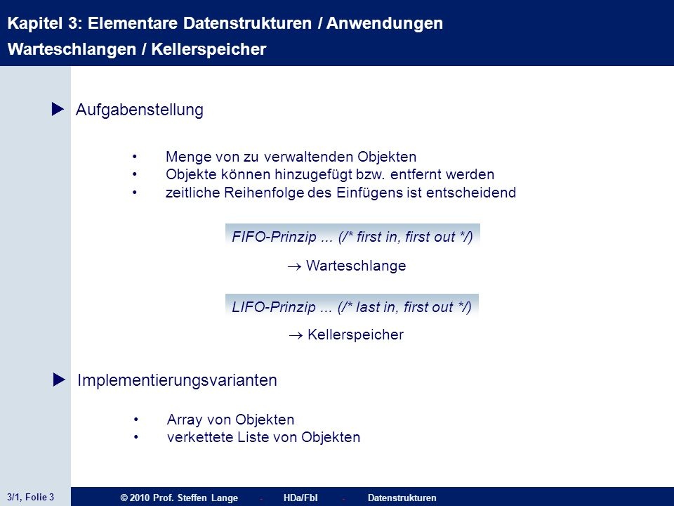 3/1, Folie 3 © 2010 Prof. Steffen Lange - HDa/FbI - Datenstrukturen Kapitel 3: Elementare Datenstrukturen / Anwendungen Menge von zu verwaltenden Obje