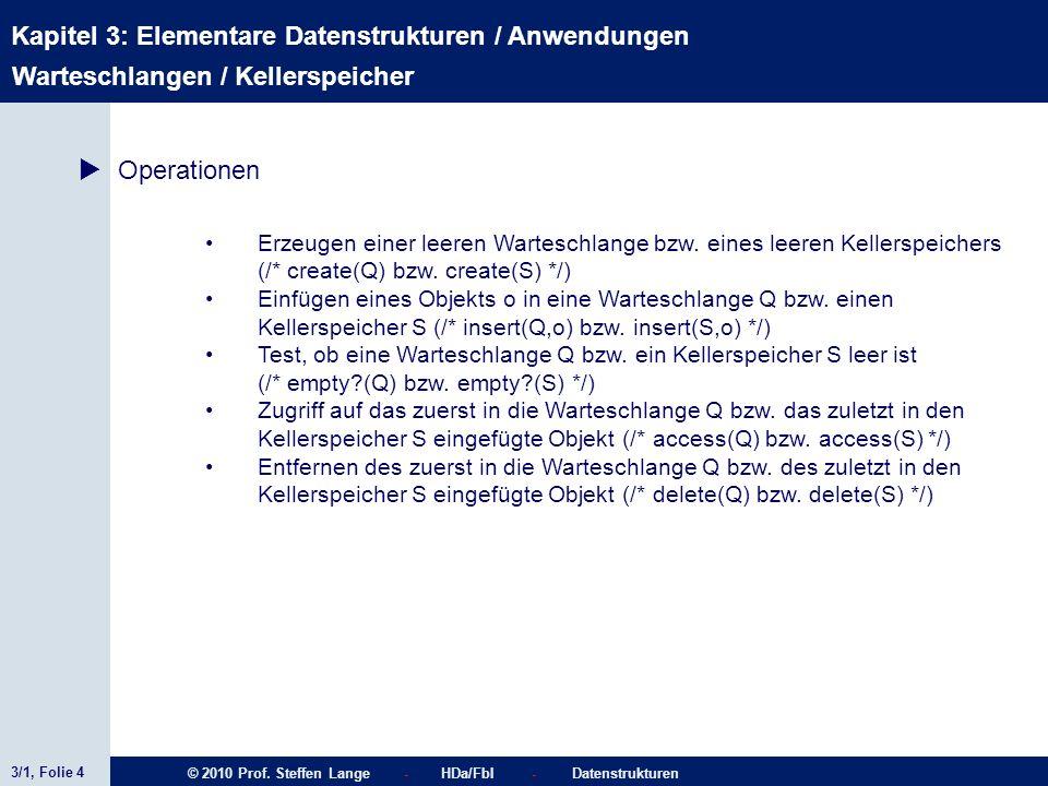 3/1, Folie 4 © 2010 Prof. Steffen Lange - HDa/FbI - Datenstrukturen Kapitel 3: Elementare Datenstrukturen / Anwendungen Erzeugen einer leeren Wartesch