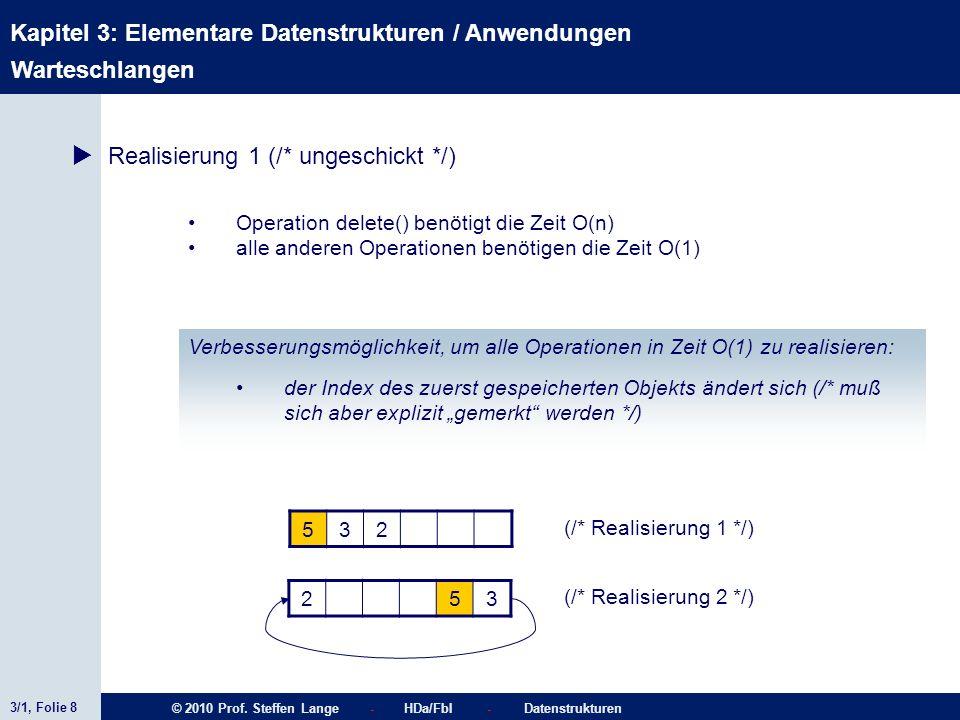 3/1, Folie 8 © 2010 Prof. Steffen Lange - HDa/FbI - Datenstrukturen Kapitel 3: Elementare Datenstrukturen / Anwendungen Warteschlangen Realisierung 1