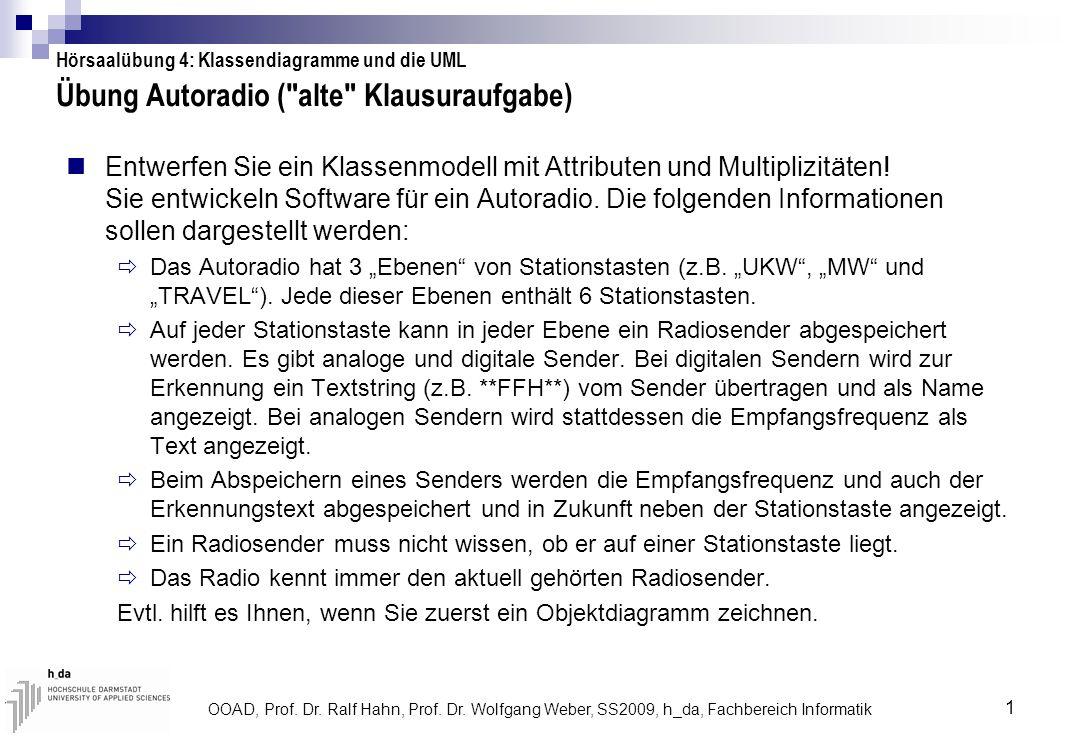 OOAD, Prof. Dr. Ralf Hahn, Prof. Dr. Wolfgang Weber, SS2009, h_da, Fachbereich Informatik 1 Übung Autoradio (