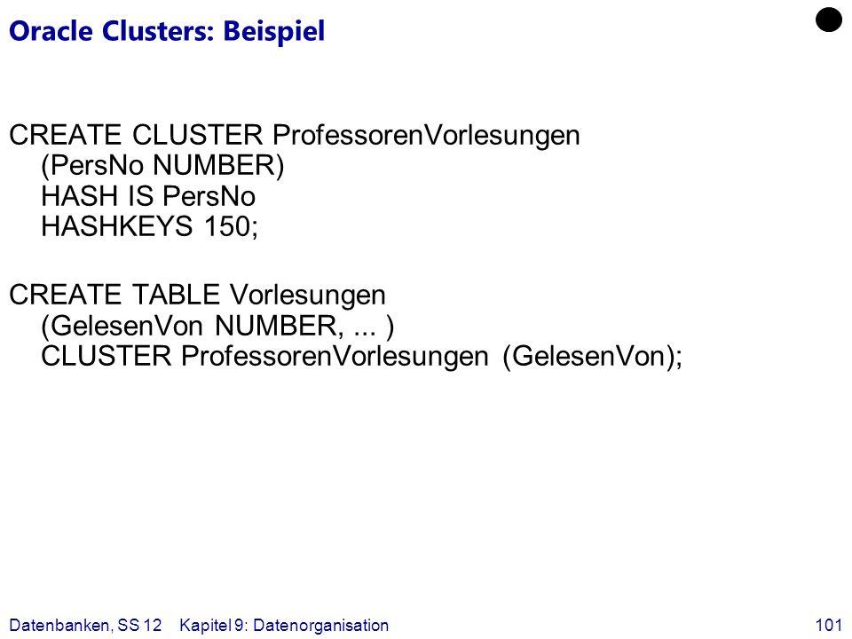 Datenbanken, SS 12Kapitel 9: Datenorganisation101 Oracle Clusters: Beispiel CREATE CLUSTER ProfessorenVorlesungen (PersNo NUMBER) HASH IS PersNo HASHK