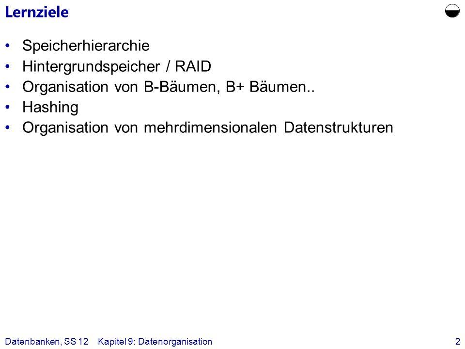Datenbanken, SS 12Kapitel 9: Datenorganisation2 Lernziele Speicherhierarchie Hintergrundspeicher / RAID Organisation von B-Bäumen, B+ Bäumen.. Hashing