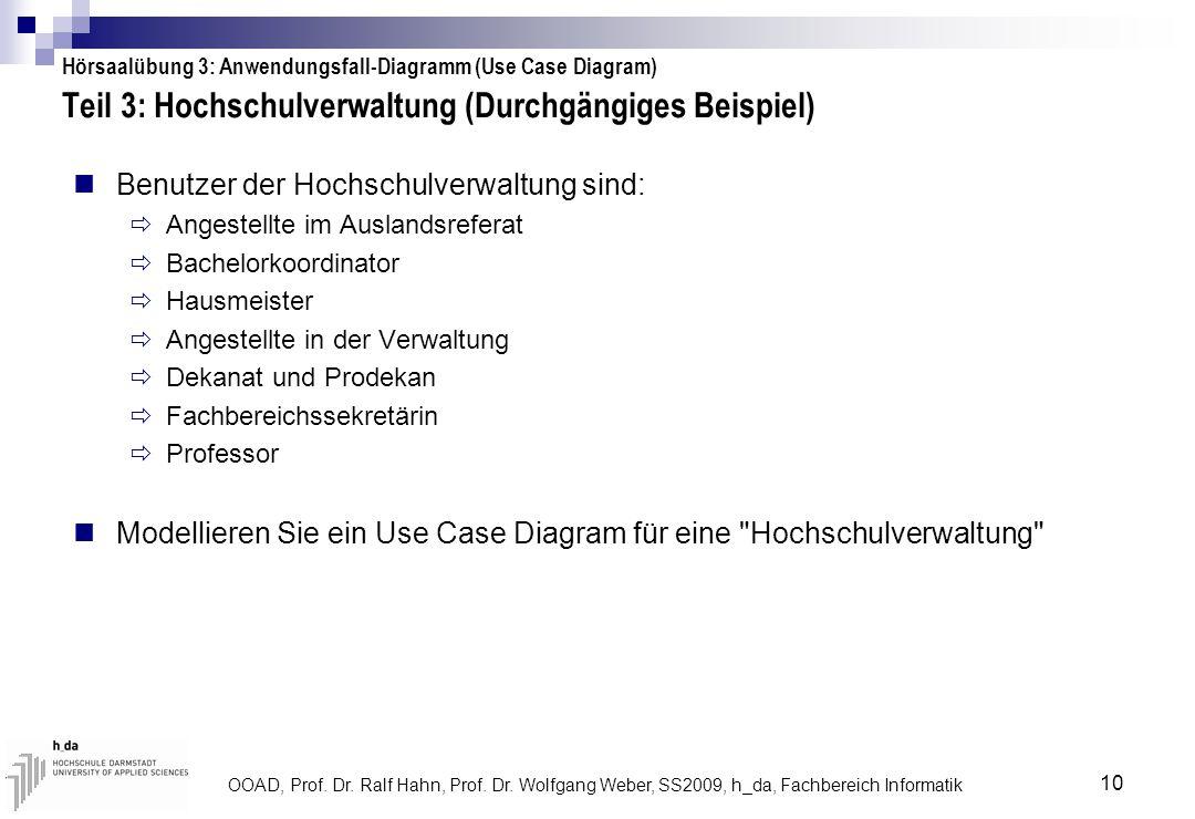 OOAD, Prof. Dr. Ralf Hahn, Prof. Dr. Wolfgang Weber, SS2009, h_da, Fachbereich Informatik 10 Teil 3: Hochschulverwaltung (Durchgängiges Beispiel) Benu