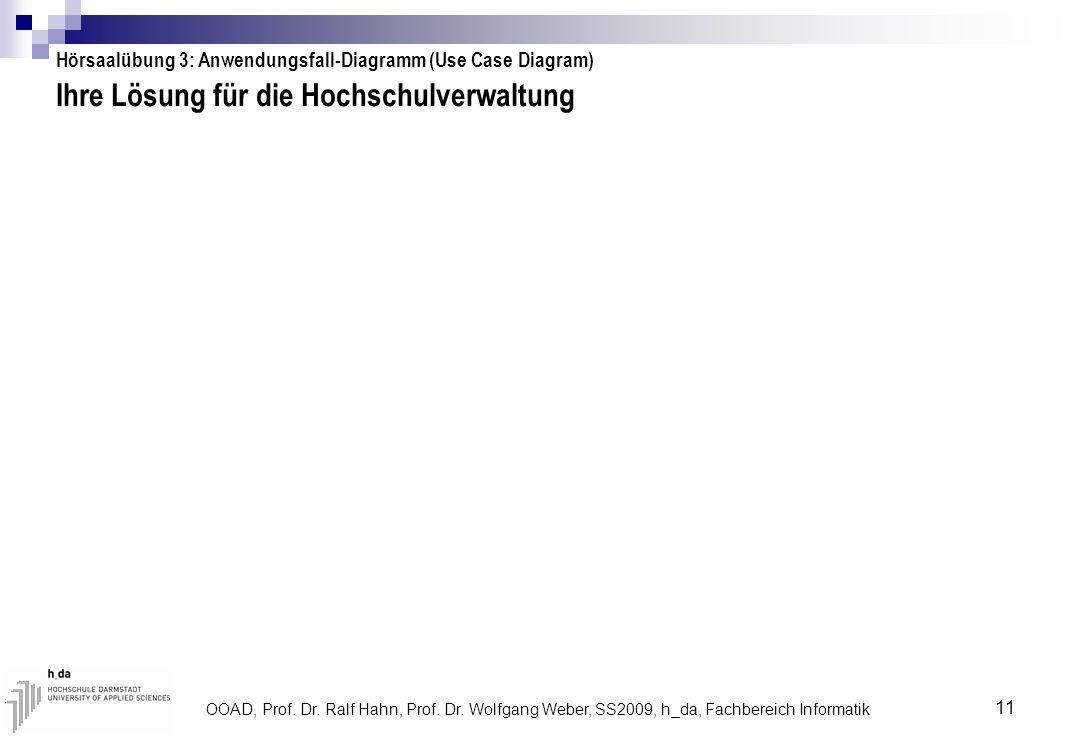 OOAD, Prof. Dr. Ralf Hahn, Prof. Dr. Wolfgang Weber, SS2009, h_da, Fachbereich Informatik 11 Ihre Lösung für die Hochschulverwaltung Hörsaalübung 3: A