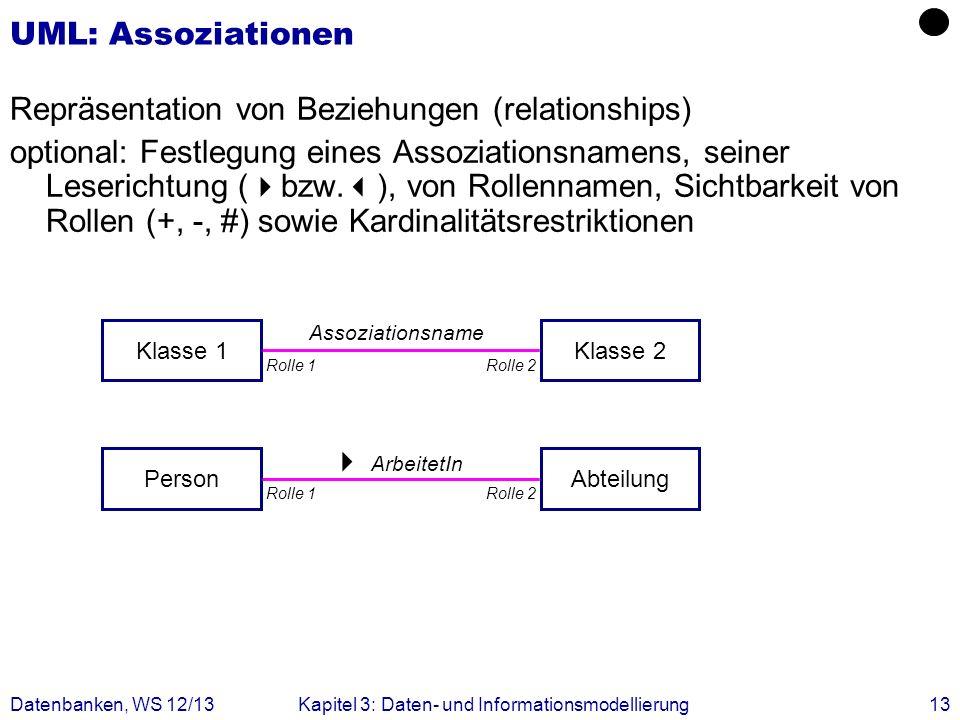 Datenbanken, WS 12/13Kapitel 3: Daten- und Informationsmodellierung13 ArbeitetIn Assoziationsname UML: Assoziationen Repräsentation von Beziehungen (r