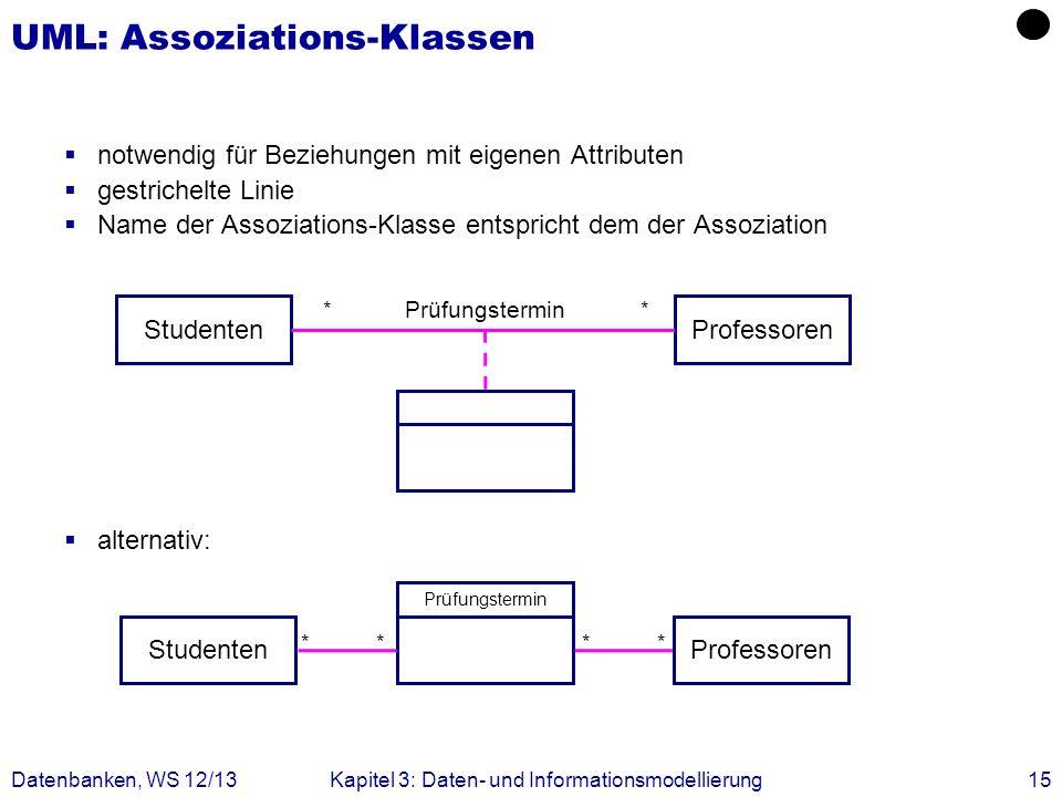notwendig für Beziehungen mit eigenen Attributen gestrichelte Linie Name der Assoziations-Klasse entspricht dem der Assoziation alternativ: Datenbanke