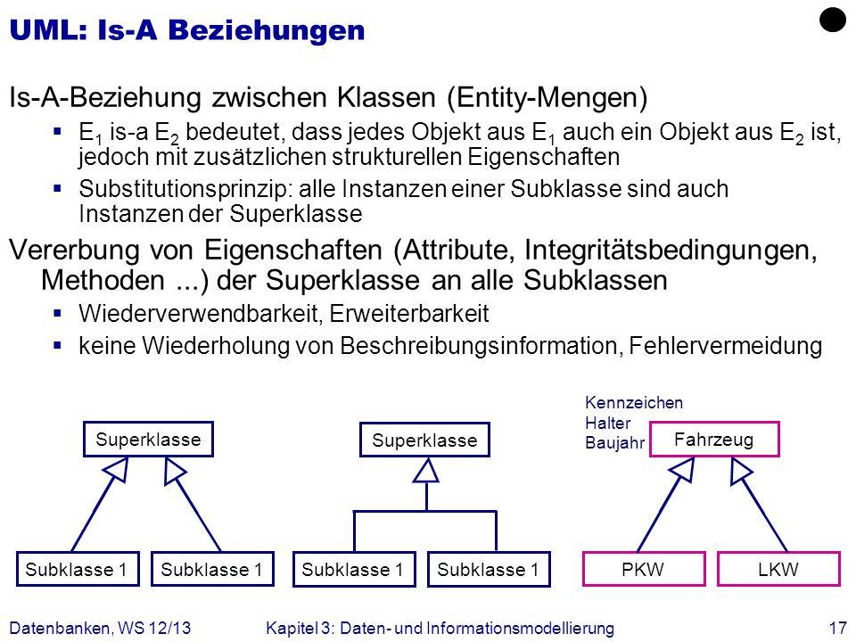 Datenbanken, WS 12/13Kapitel 3: Daten- und Informationsmodellierung17 UML: Is-A Beziehungen Is-A-Beziehung zwischen Klassen (Entity-Mengen) E 1 is-a E