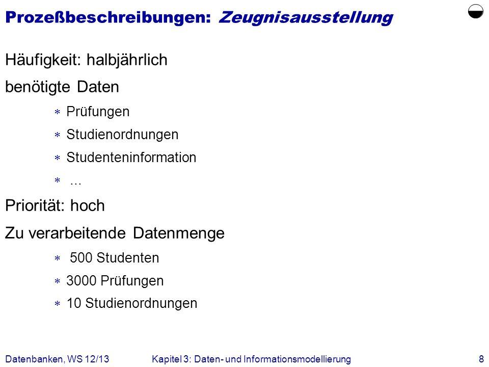 Datenbanken, WS 12/13Kapitel 3: Daten- und Informationsmodellierung8 Prozeßbeschreibungen: Zeugnisausstellung Häufigkeit: halbjährlich benötigte Daten