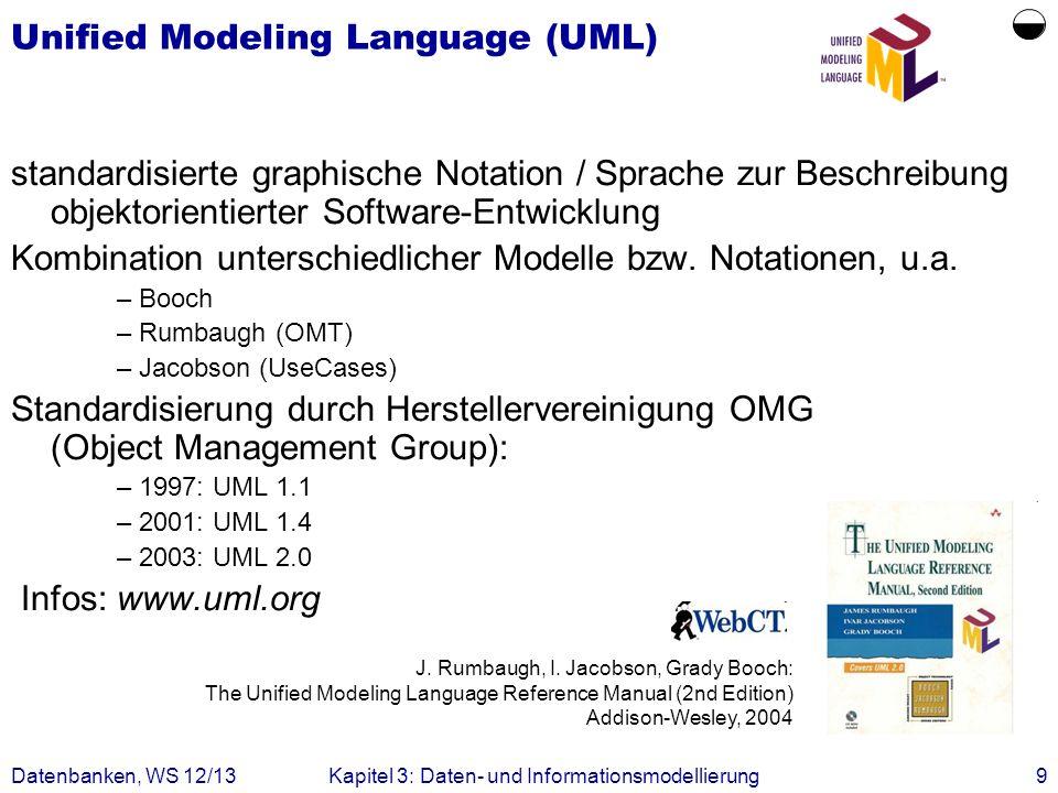 Datenbanken, WS 12/13Kapitel 3: Daten- und Informationsmodellierung9 Unified Modeling Language (UML) standardisierte graphische Notation / Sprache zur