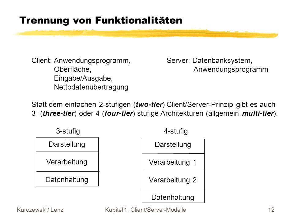 Karczewski / LenzKapitel 1: Client/Server-Modelle12 Trennung von Funktionalitäten Client: Anwendungsprogramm, Server: Datenbanksystem, Oberfläche, Anw