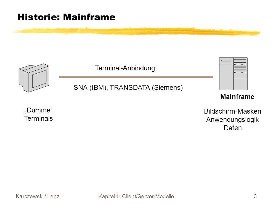 Karczewski / LenzKapitel 1: Client/Server-Modelle3 Historie: Mainframe SNA (IBM), TRANSDATA (Siemens) Mainframe Dumme Terminals Terminal-Anbindung Bil