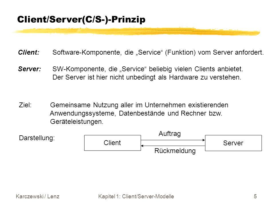 Karczewski / LenzKapitel 1: Client/Server-Modelle6 Mainframe versus Client/Server SNA Mainframe Dezentralisierung GUIAnwendungslogikAltsysteme AnwendungslogikDatenDaten TCP/IP Application Server DB Server