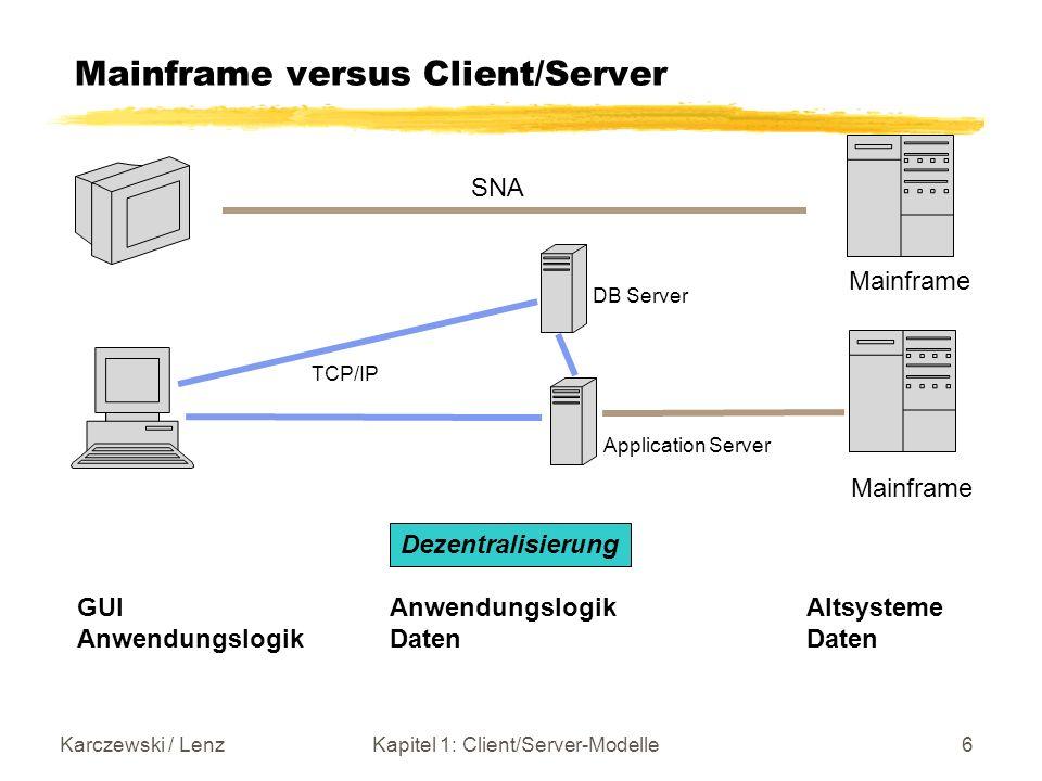 Karczewski / LenzKapitel 1: Client/Server-Modelle7 Client/Server Epoche Hardware,Betriebssysteme -Client PC mit DOS, Windows, (OS/2) Unix -Server: Unix, NT, Novell (OS/2) -Mainframes: IBM mit MVS Bedeutung anderer Hersteller nimmt ab Datenmanagement -Filesysteme -Relationale DBMS Middleware -RPC -DCE -TP Monitore -(CORBA) Kommunikation -TCP/IP Entwicklung -CASE (Computer Added Software Engineering) -Repositories -Projekt- und Konfigurations- management -Sprachen (Compiler, Debugger) COBOL C, C++, (Smalltalk) VB 4GL