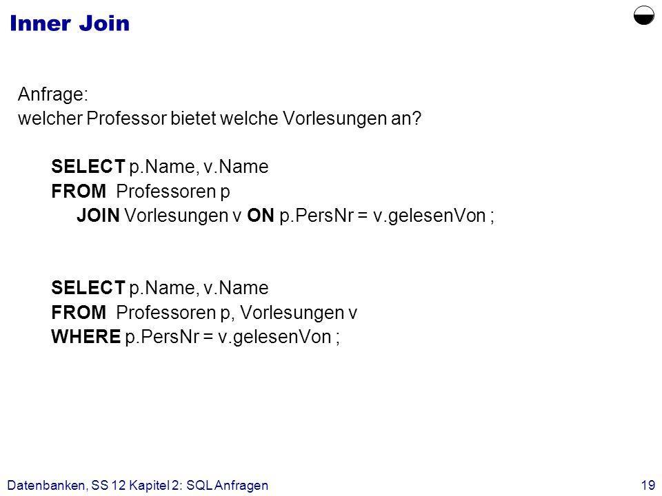 Datenbanken, SS 12 Kapitel 2: SQL Anfragen19 Inner Join Anfrage: welcher Professor bietet welche Vorlesungen an? SELECT p.Name, v.Name FROM Professore