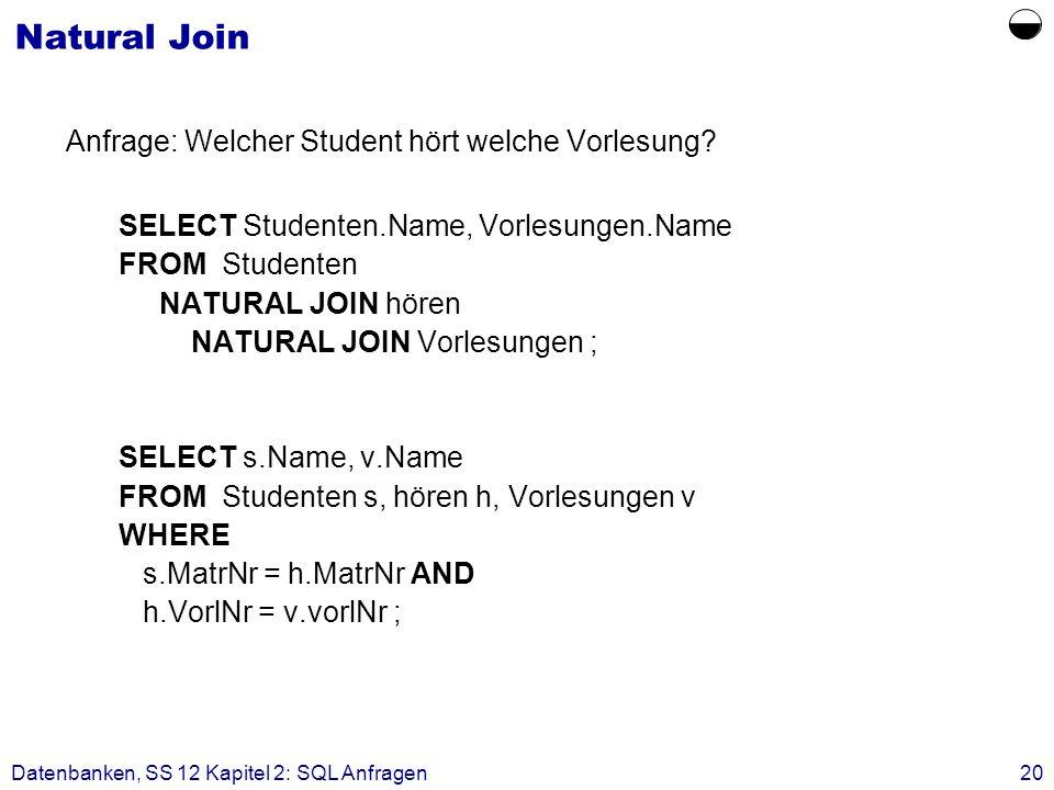 Datenbanken, SS 12 Kapitel 2: SQL Anfragen20 Natural Join Anfrage: Welcher Student hört welche Vorlesung? SELECT Studenten.Name, Vorlesungen.Name FROM