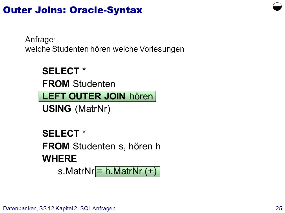 Datenbanken, SS 12 Kapitel 2: SQL Anfragen25 Outer Joins: Oracle-Syntax SELECT * FROM Studenten LEFT OUTER JOIN hören USING (MatrNr) SELECT * FROM Studenten s, hören h WHERE s.MatrNr = h.MatrNr (+) Anfrage: welche Studenten hören welche Vorlesungen