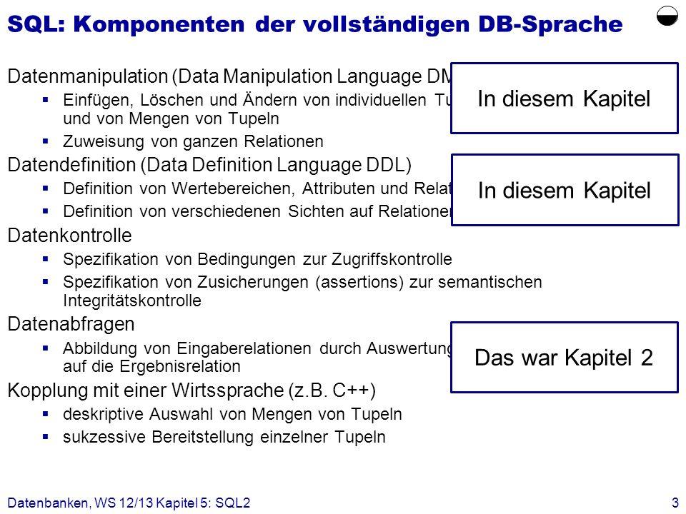 Datenbanken, WS 12/13 Kapitel 5: SQL23 SQL: Komponenten der vollständigen DB-Sprache Datenmanipulation (Data Manipulation Language DML) Einfügen, Lösc