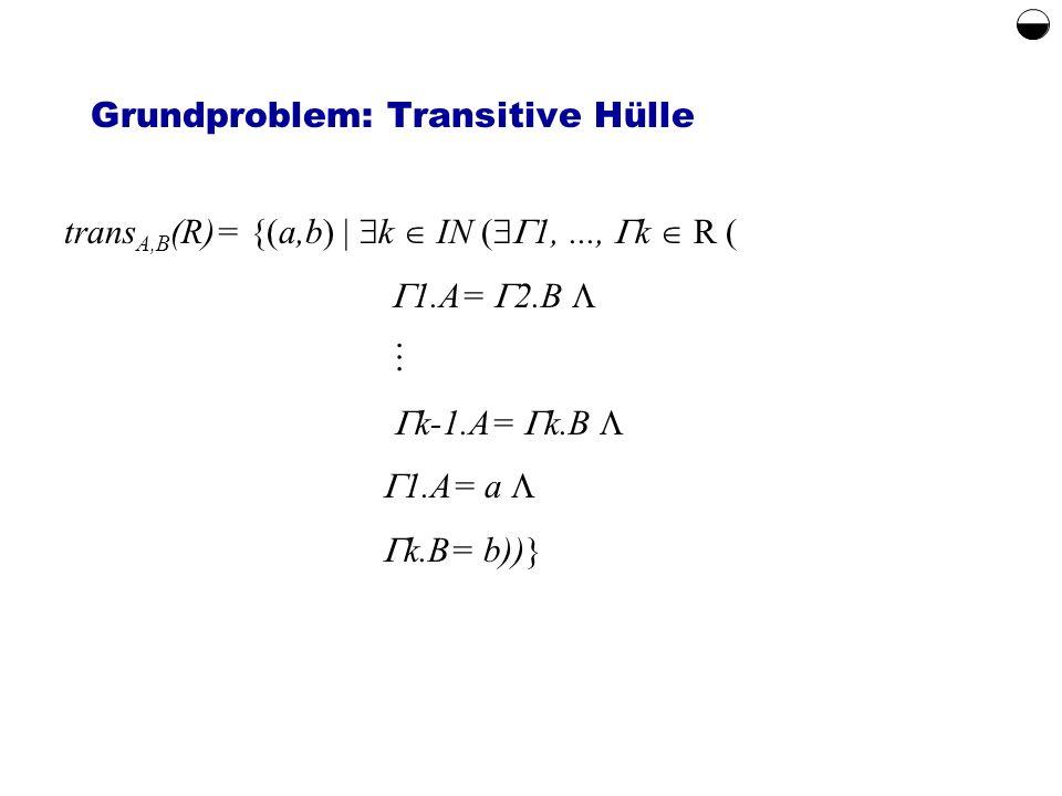 Grundproblem: Transitive Hülle trans A,B (R)= {(a,b) k IN ( 1,..., k R ( 1.A= 2.B k-1.A= k.B 1.A= a k.B= b))}
