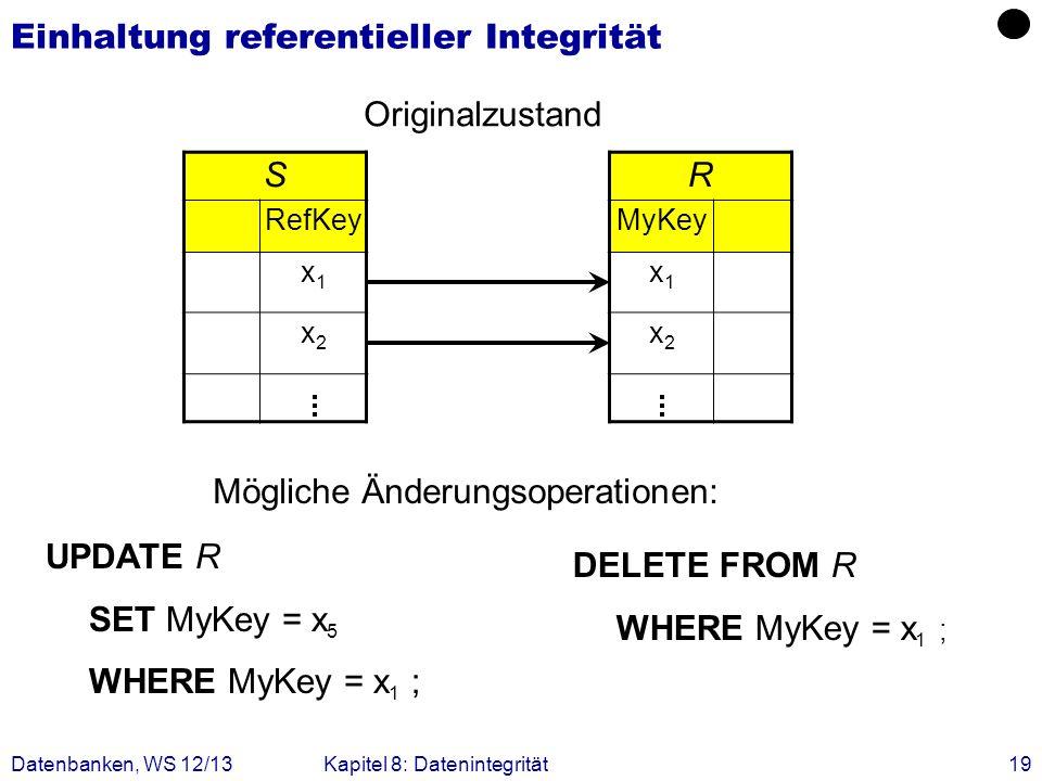 Datenbanken, WS 12/13Kapitel 8: Datenintegrität19 Einhaltung referentieller Integrität S RefKey x1x1 x2x2 R MyKey x1x1 x2x2 Originalzustand Mögliche Ä