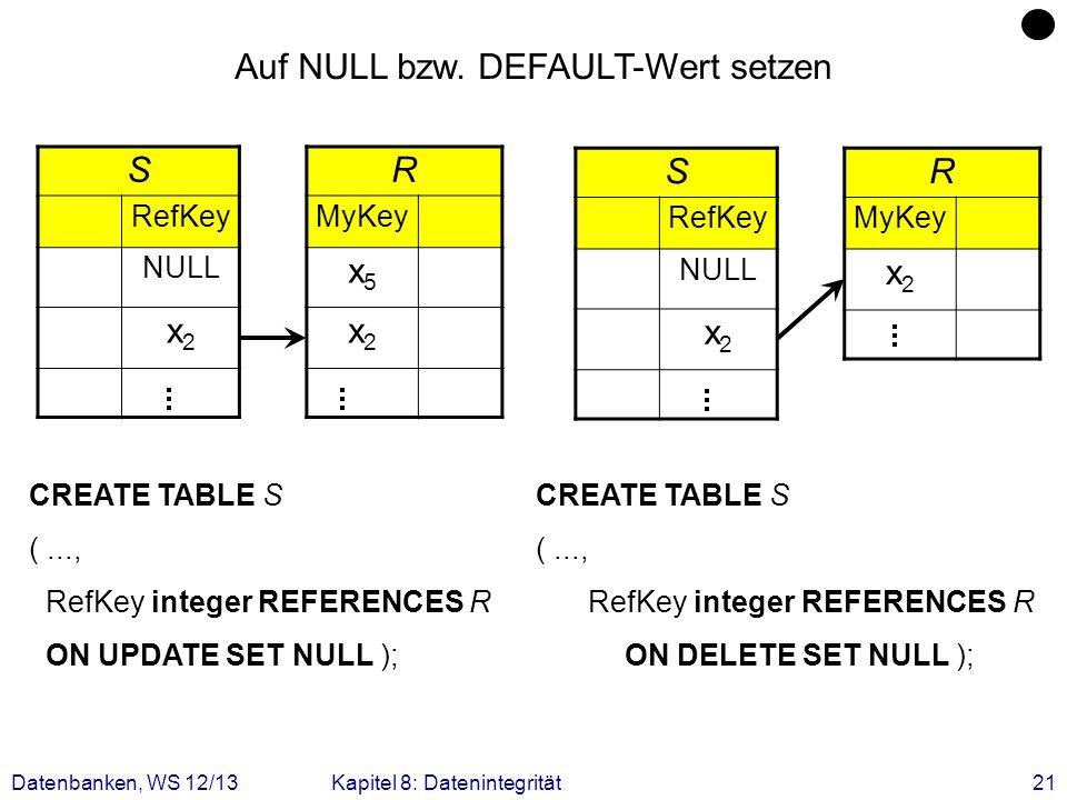 Datenbanken, WS 12/13Kapitel 8: Datenintegrität21 S RefKey NULL x2x2 R MyKey x5x5 x2x2 Auf NULL bzw. DEFAULT-Wert setzen CREATE TABLE S (..., RefKey i