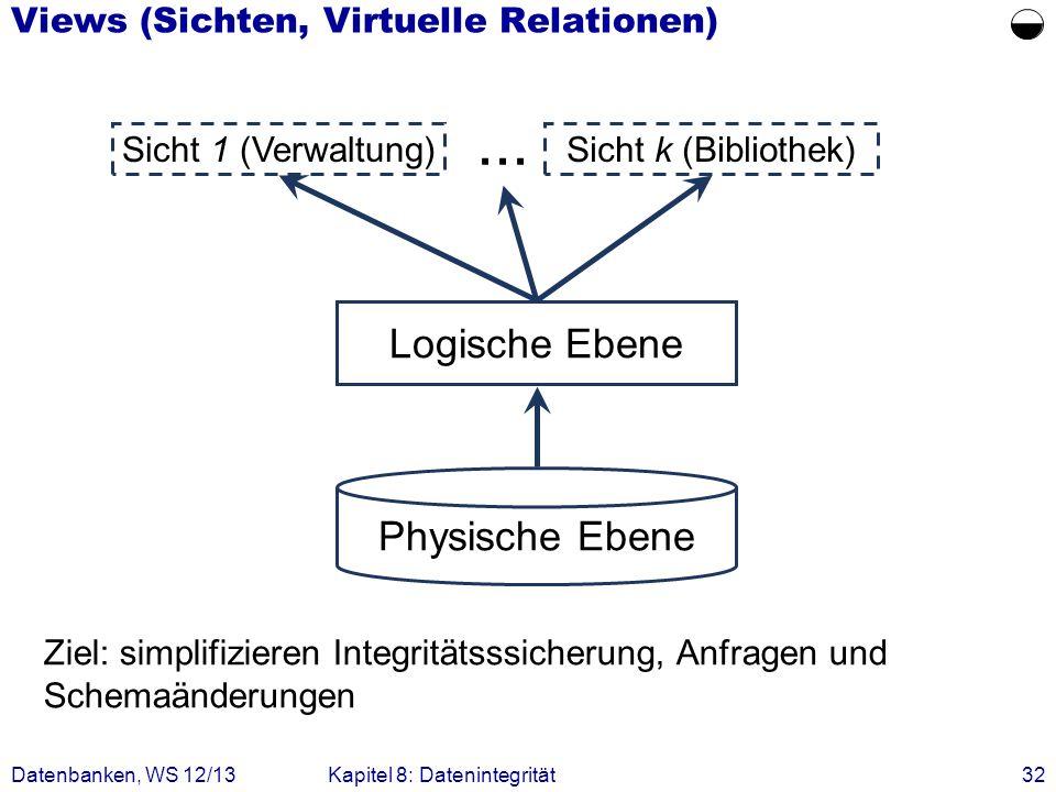 Datenbanken, WS 12/13Kapitel 8: Datenintegrität32 Views (Sichten, Virtuelle Relationen) Ziel: simplifizieren Integritätsssicherung, Anfragen und Schem